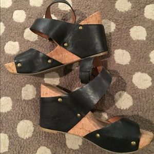 Lucky Brand Black Leather Wedge Sandals - Size 6.5